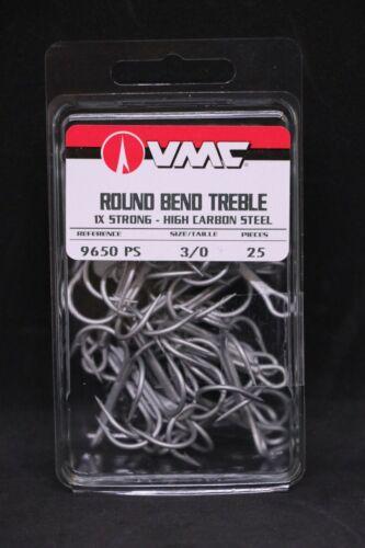 VMC 9650PS Perma Steel Treble Hooks Size 3//0 Pack of 25-9650 Carbon Hooks