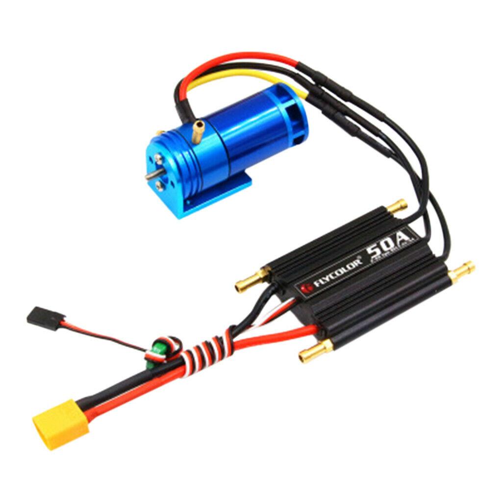 2-4S 2862-2800KV Motor Sin Escobillas Outrunner refrigerado por agua +50A ESC para RC Barco Azul