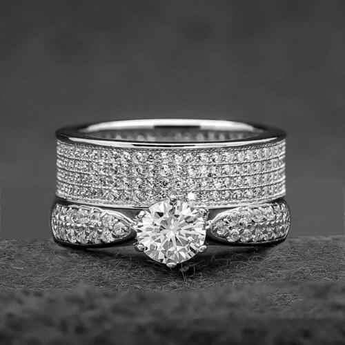 WEDDING RINGS 3 piece Engagement Bridal Ring SET D//VVS1 In 14K White Gold Over