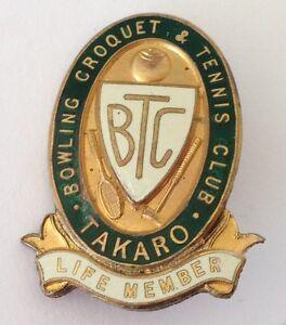 Takaro-Bowling-Croquet-amp-Tennis-Club-Life-Member-Badge-Pin-New-Zealand-M22