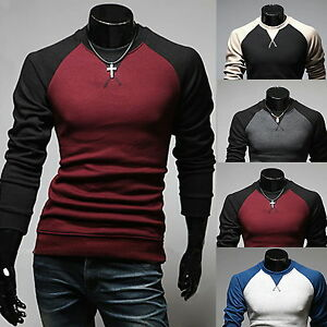 · Mens Slim Fit Long Sleeve Tee Pullover Hoodies T-Shirt ...