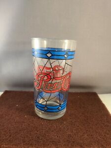 Vintage-1970-039-s-Pepsi-Cola-Glass-Tiffany-Style-Stained-Glass-Red-Blue