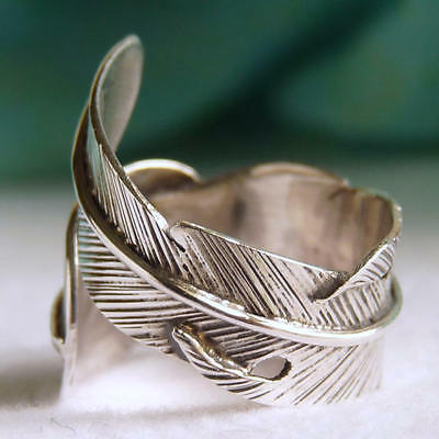 SilverSari 'FEATHER' Boho Ring ~ 925 Sterling Silver ~ US 5 to 9 (Adjustable)