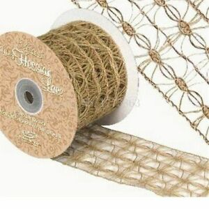 Christmas-Wedding-Decors-Burlap-Natural-Wired-Hessian-Lace-Ribbon-Vintage-Style