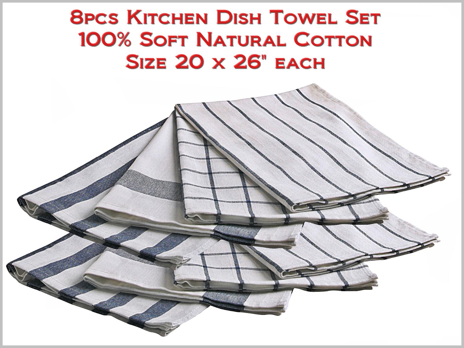 Cuisine Torchons Set 100% Souple Coton Naturel Taille 20  x 26  chaque - 8pcs NEUF