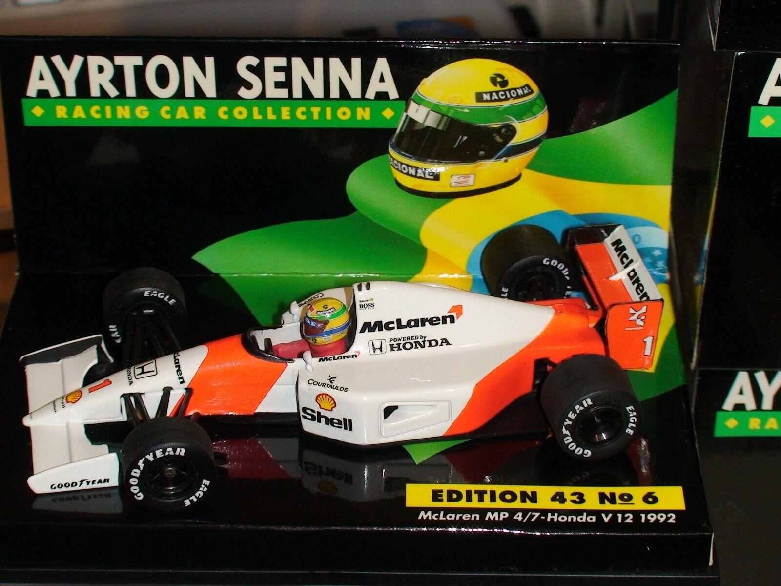 1 43 Minichamps Ayrton Senna Mclaren Mp 4 7 HONDA V12 1992-ASC manches  6