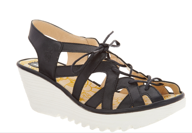 New  FLY London Leather Lace Up Wedge Sandals - YAPI - nero EURO 40 US 9 -9.5  centro commerciale online integrato professionale
