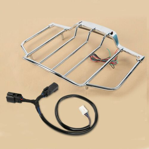 Chrome Tour Pak Pack Top Luggage Rack w// LED For Harley Touring Electra Glide