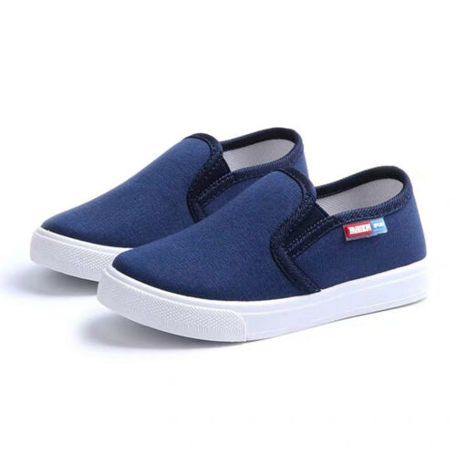 Kids Boys Girls Canvas Casual Sneakers Children Loafers Flat Solid Slip-on Shoes