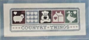1987-Vntg-NIP-Janlynn-Counted-Cross-Stitch-Kit-Country-Things-12x5-Picture-7765F