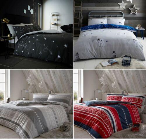 Flannelette CHRISTMAS STAR 100/% Brushed Cotton Duvet Cover Set Cozy Warm Bed Set