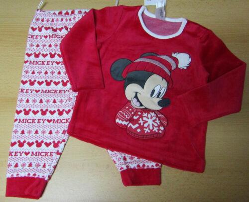 Disney Micky Maus Baby Schlafanzug Pyjama 2 teilig Velour rot weiß NEU