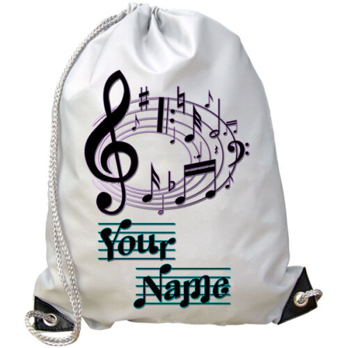 DANCE BAG **NAMED GIFT** PE SWIMMING MUSIC MUSICAL NOTES PERSONALISED GYM