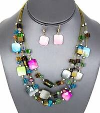 Three Layers Multi Color Square Shell Faceted Glass Bead Necklace Earring Set
