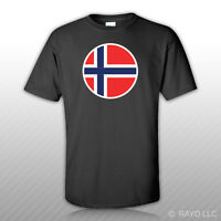 Round Norwegian Flag T-shirt Tee Shirt Free Sticker Norway Nor No