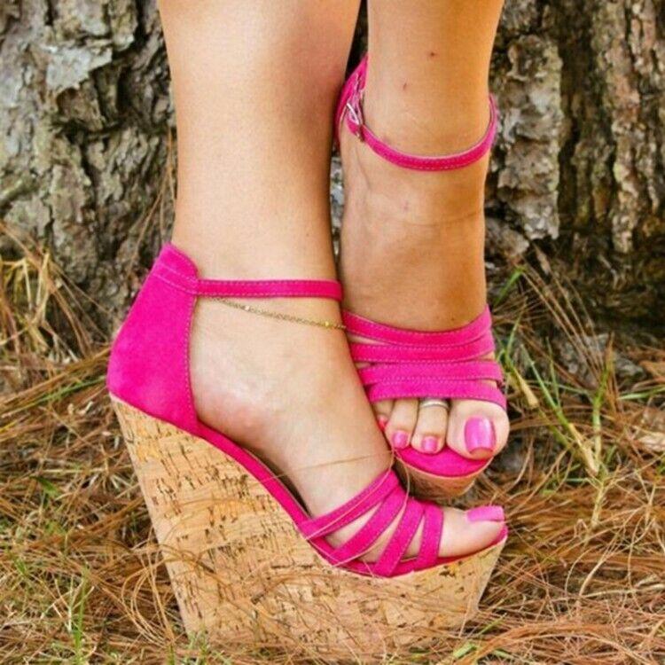 Femmes Talon Haut Compensé Sandales Plateforme Bout Ouvert Bride Cheville Chaussures Grande Taille 2-11