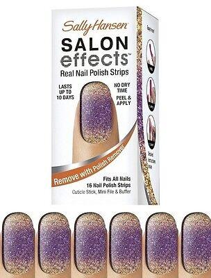 Sally Hansen Salon Effects Real Nail Polish Strips -285 The Bold Rush- NIB
