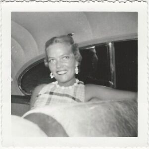Pretty-Young-Blonde-Woman-with-Earrings-in-Car-Backseat-Vintage-Snapshot