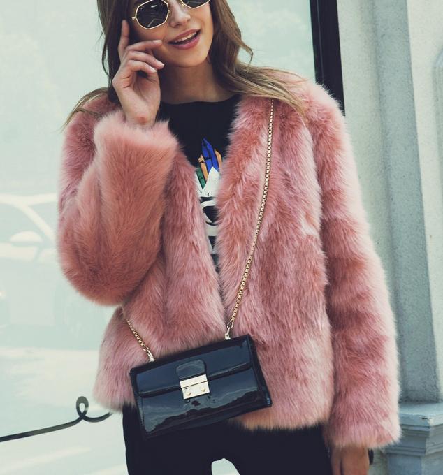 Streetwear női faux fur kabát téli rózsaszín rövid bunda kabát kabát  kiöltözik 67228 c7889d0dc1