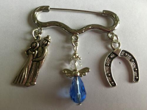 SOMETHING BLUE WEDDING LUCKY BOUQUET GARTER GUARDIAN ANGEL CHARM BROOCH MEMENTO