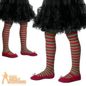 436d5ea76 Details about Child Red and Green Striped Tights Christmas Elf Girls Kids  Fancy Dress