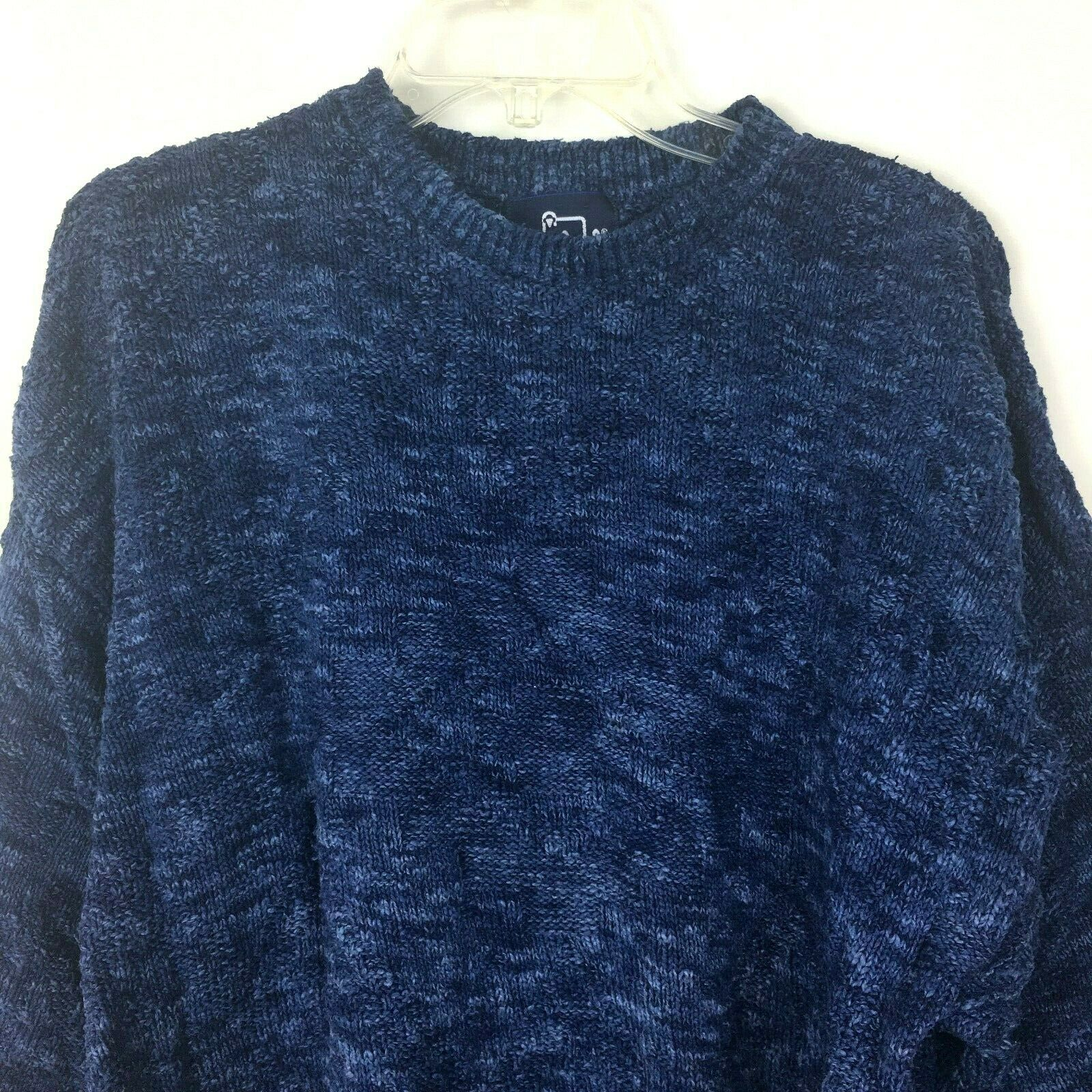 Woolrich Sweater Men's XL Vintage 80s 100% Cotton Denim bluee Diamond Knit USA
