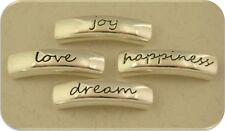 """2 Hole Beads Inspiration """"Happiness Dream Love Joy"""" Engraved Metal Sliders QTY 4"""