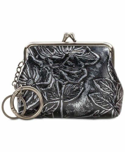 Patricia Nash borse Porte-monnaie avec porte-clés Bark Feuilles Cuir Noir
