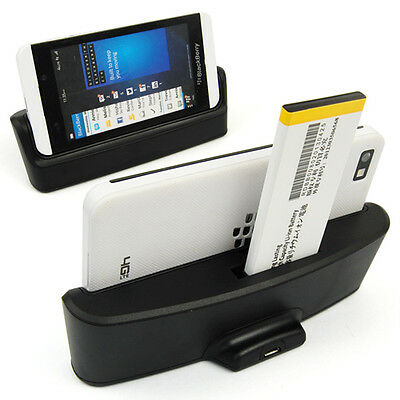 Desktop Sync Data Phone & Battery Dual Charger Dock Cradle For BlackBerry BB Z10