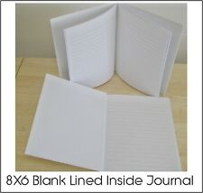 BLANK WHITE HARDCOVER LINED INSIDE JOURNAL FOR ADULTS & KIDS (60) PGS. 8X6
