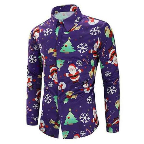 Slim Floral Casual Shirt Luxury Mens Dress Shirt Top Long Sleeve Christmas