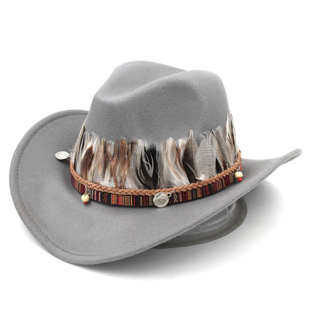 Men Women Wool Wide Brim Western Cowboy Hat Cowgirl Jazz Cap Indian Feather Band