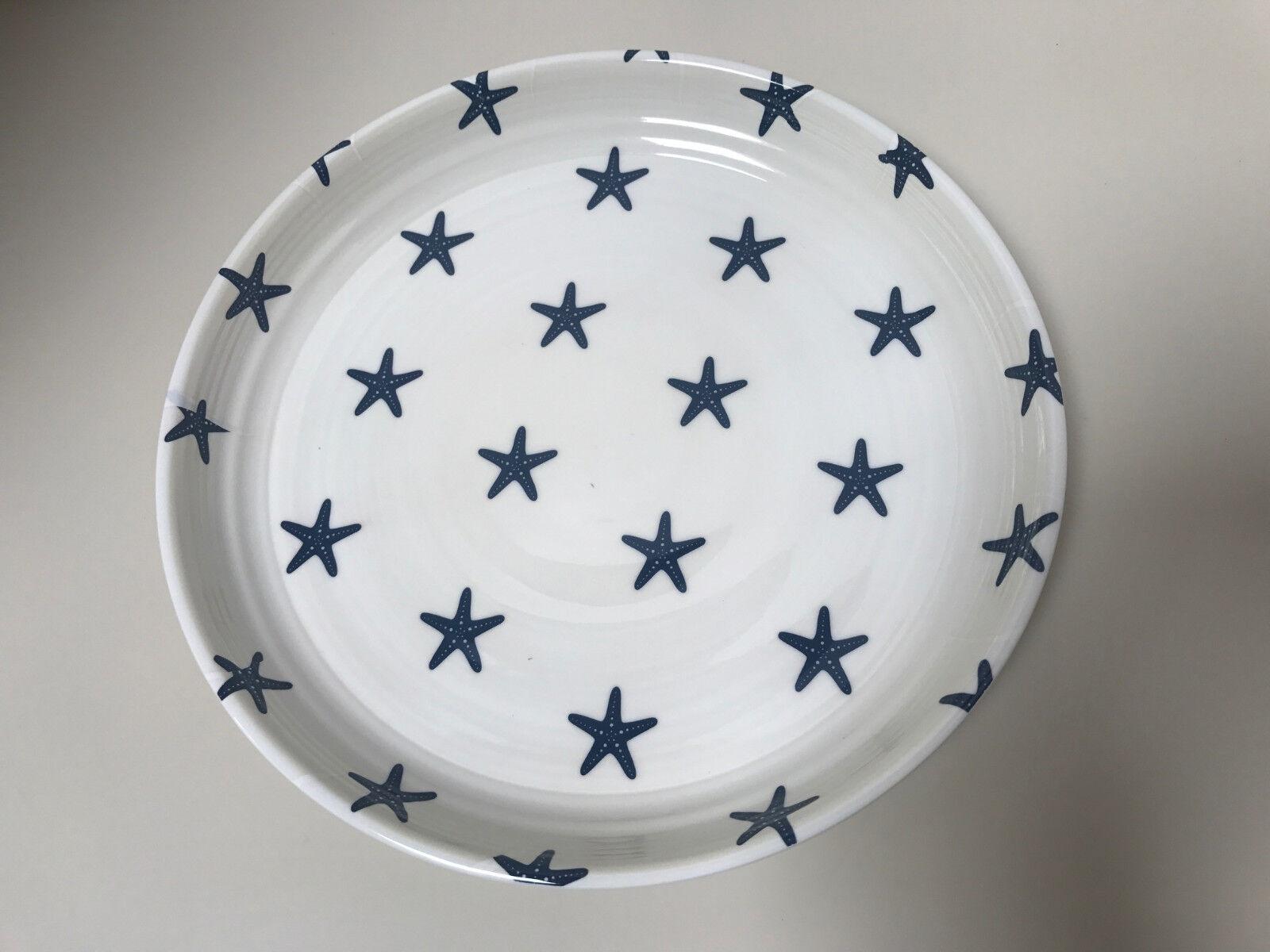 Pottery Barn Melamine Salad Plate S 4 bluee Star Fish Outdoor Dinnerware