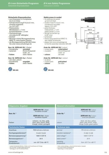 SCHÜTZINGER SEPB6451 schwarz Sicherheits-Einpressbuchse 4mm FSH 4,8 mm 854625