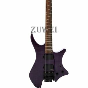 Headless-Electric-Guitar-Flamed-Maple-Top-One-Piece-Neck-Body-5-Pieces-Neck