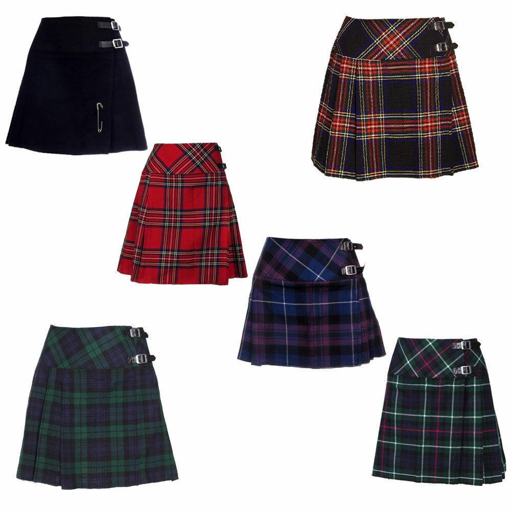 Scottish Ladies Mini Pride Of Scotland Tartan Kilt/Women Skirt 16' long Kilt pin