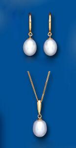 Fine Jewelry Fine Jewelry Sets Conjunto Perlas Oro Amarillo Colgante Y Pendientes Agua Dulce Contraste
