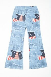 837fa7ef725 Image is loading Vintage-Flared-Stars-and-Stripes-Jeans-Women-s-