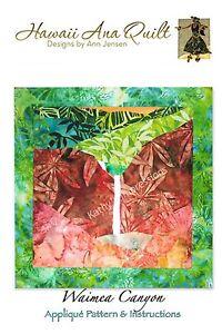 Details About Canyon Quilt Pattern Kauai Waimea Uses Needle Turn Hand Applique Technique