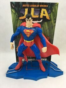 Superman-JLA-DC-Comics-Justice-League-Kenner-1998-Action-Figure-Stand-amp-Card