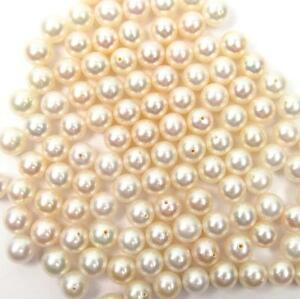 10 pcs 7.5-8mm AAA Round Half Drilled Cultured White Fresh Water Pearl