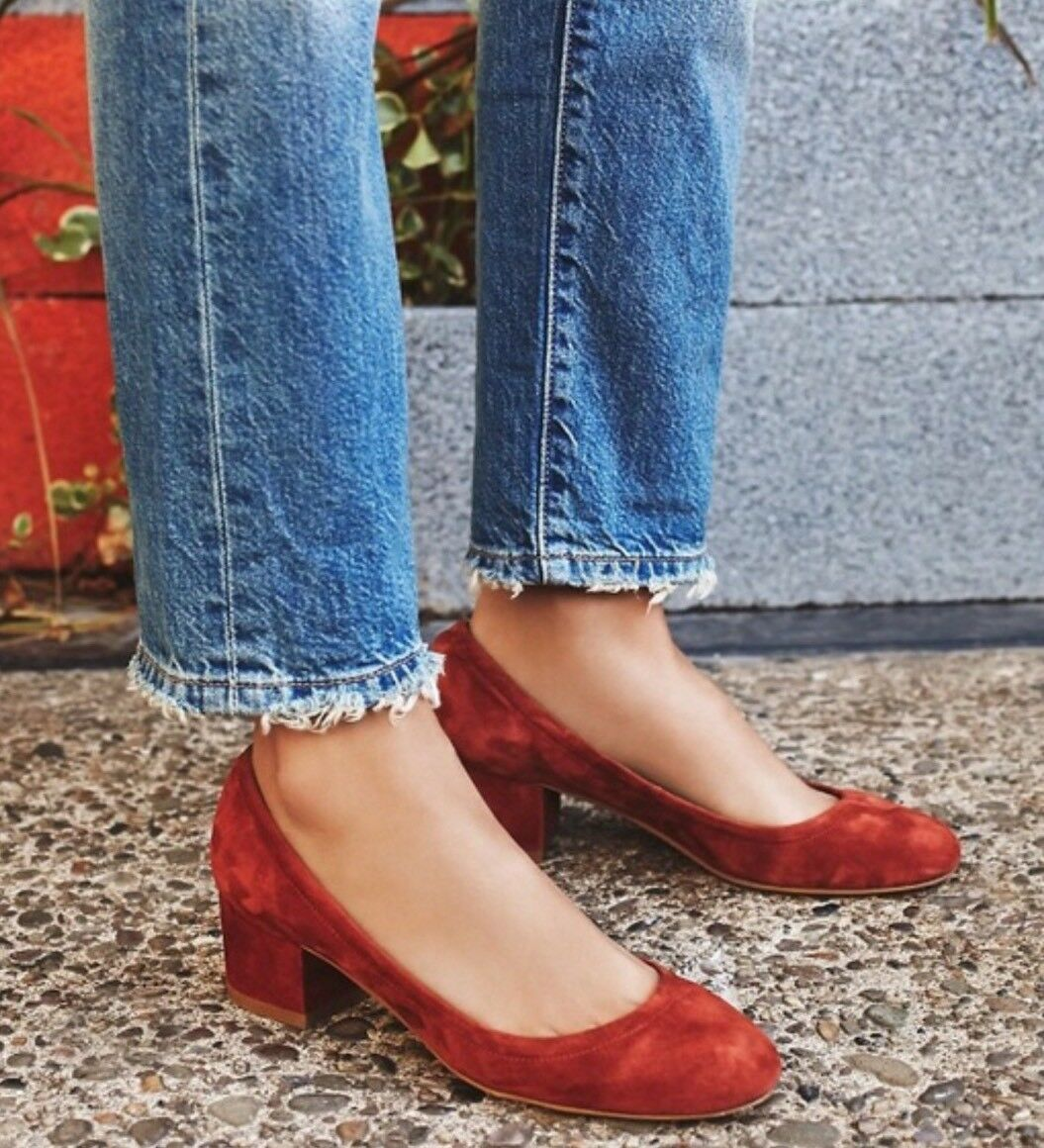 NEW Free People x Jeffrey Campbell Cyndi Suede Block Heels Taille 6 Rust