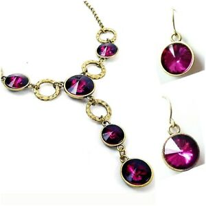 Geomon-Necklace-Earring-Fuchsia-Lucite-Crystal-Long-Pendant-Drop-Brass-Circle