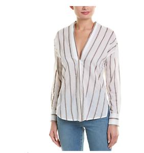 Vince Striped Linen & Silk-Blend Shirt Größe Small