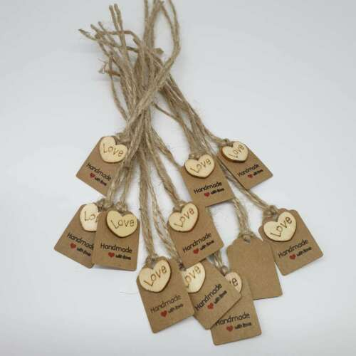 Tags Small Brown Kraft Embellished Most Wonderful Time Christmas Gift Label 10pc