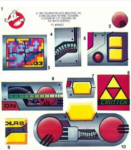 REPLACEMENT STICKER  LABEL SHEET FOR VINTAGE KENNER GHOSTBUSTERS PROTON PACK
