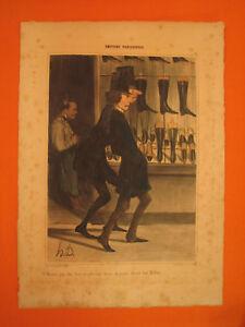 Honore-DAUMIER-Lithographie-coloree-gommee-Ste-du-Charivari-Ces-Messieurs-pour