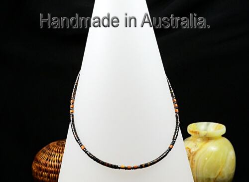 5SN208 CUS MADE Natural Black Lip Shell Iron Ore & Wood Choker Men Necklace