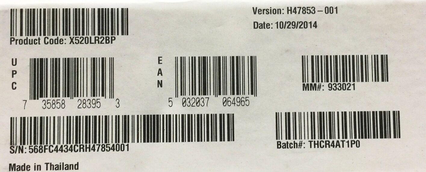 Intel X520LR2BP X520-LR2 Ethernet Server Bypass Adapter New Brown Box