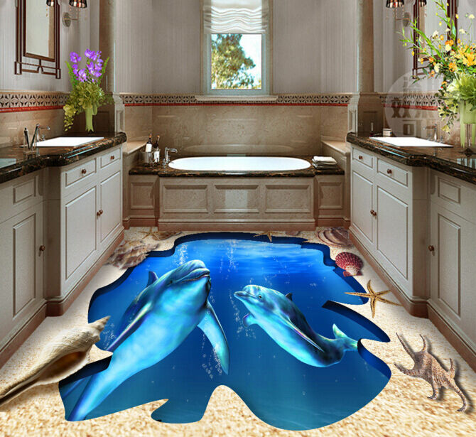 3D Two dolphins 012 Floor WallPaper Murals Wall Print Decal 5D AJ WALLPAPER